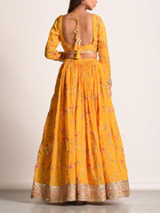 Yellow Floral Printed Lehenga Set