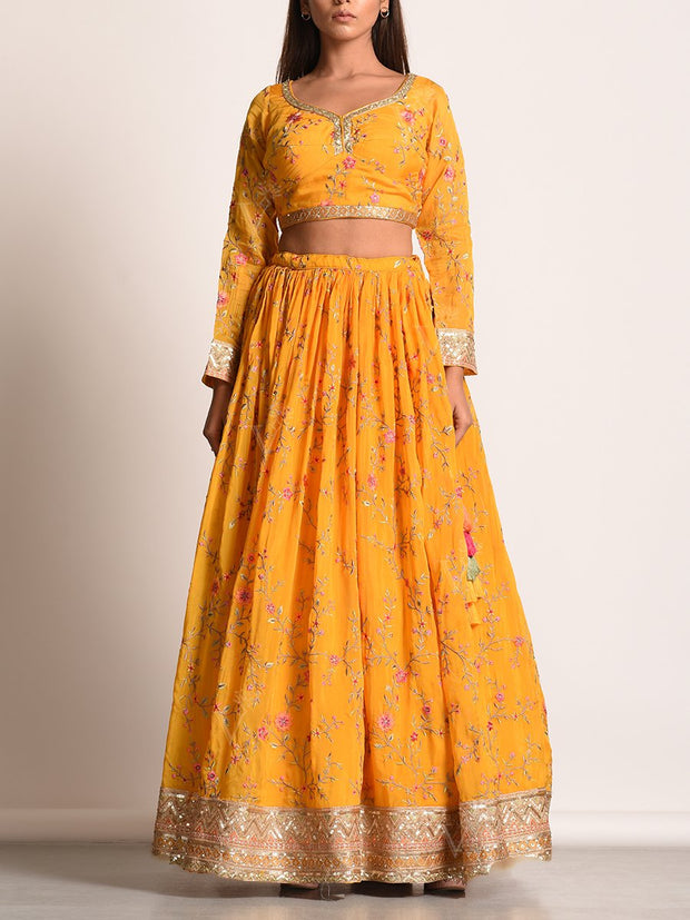 Lehega, lahanga, lehanga, lahenga, Lehenga set, Traditional wear, Traditional outfit, Traditional, Crop set, Printed, Highlighted, Light weight, Georgette, Floral printed, Floral, MTO, DD45