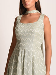 Sage Green Embroiderd Georgette Sharara Set