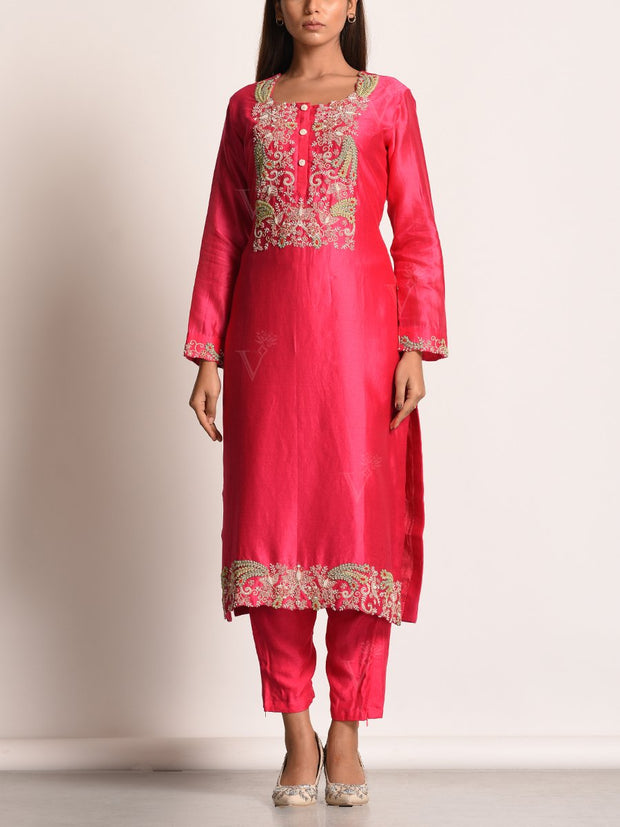 Hot Pink Embroidered Chanderi Silk Suit Set