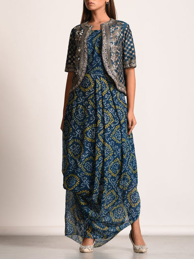 Prussian Blue Bandhani Drape Gown With Embellished Jacket