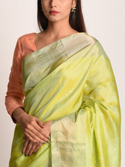 Lime Green Banarasi Silk Saree