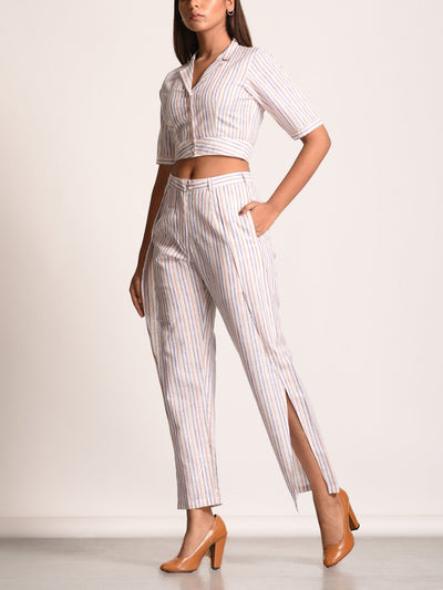 Off White Self Stripes Cotton Linen Co-Ord Set