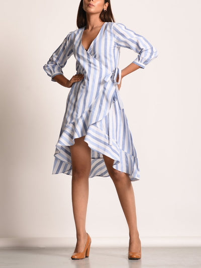 Off white Self Stripes Cotton Linen Dress