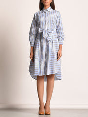 Off white Cotton Shirting Front Knotting Dress