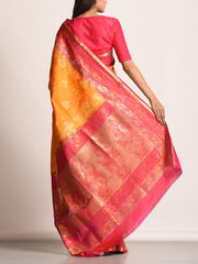 Orange Banarasi Silk Handloom Saree