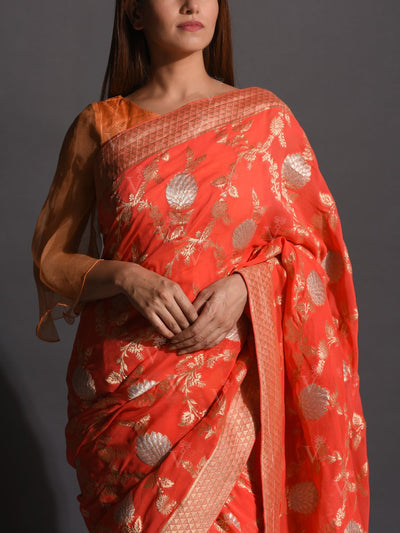 Peach Dola Silk Powerloom Saree