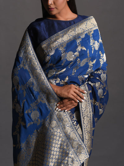 Blue Dola Silk Powerloom Saree