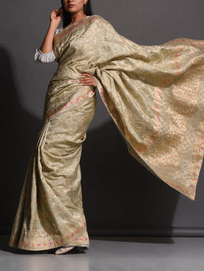 Beige Dola Silk Powerloom Saree