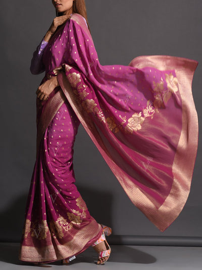Purple Dola Silk Powerloom Saree