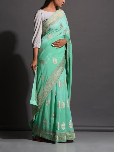Aqua Dola Silk Powerloom Saree