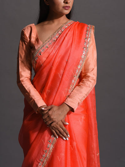 Peach Kota Silk Gota Patti Saree