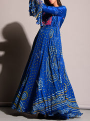 Blue Bandhej Anarkali Gown