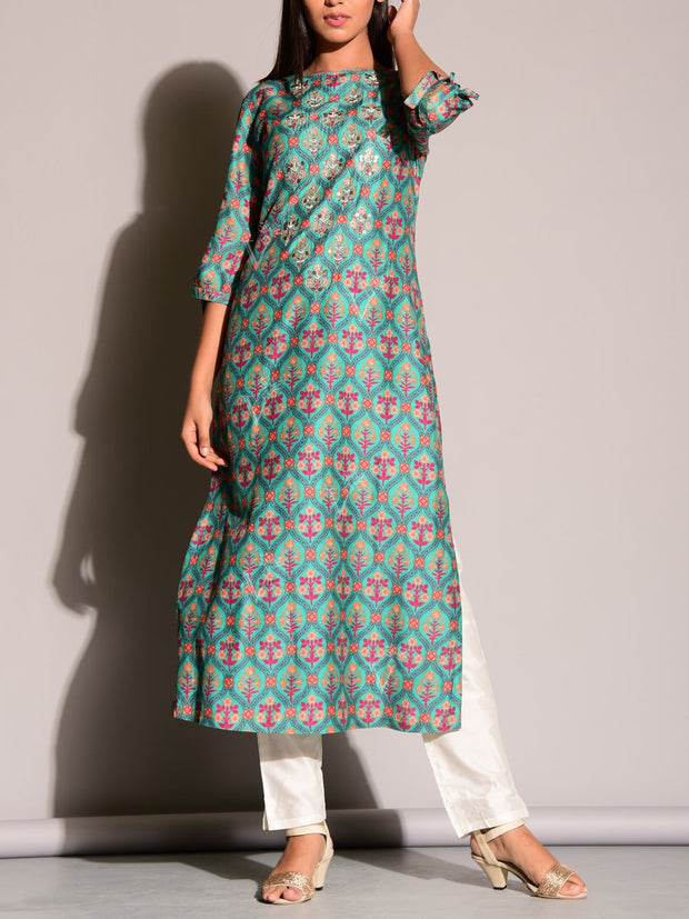 Green Highlighted Kurti