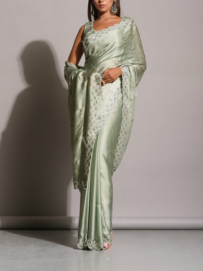 Mint Green Satin Silk Embellished Saree