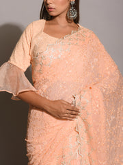 Peach Chiffon All Over Embroidered Saree
