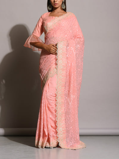 Baby Pink Chiffon All Over Embroidered Saree