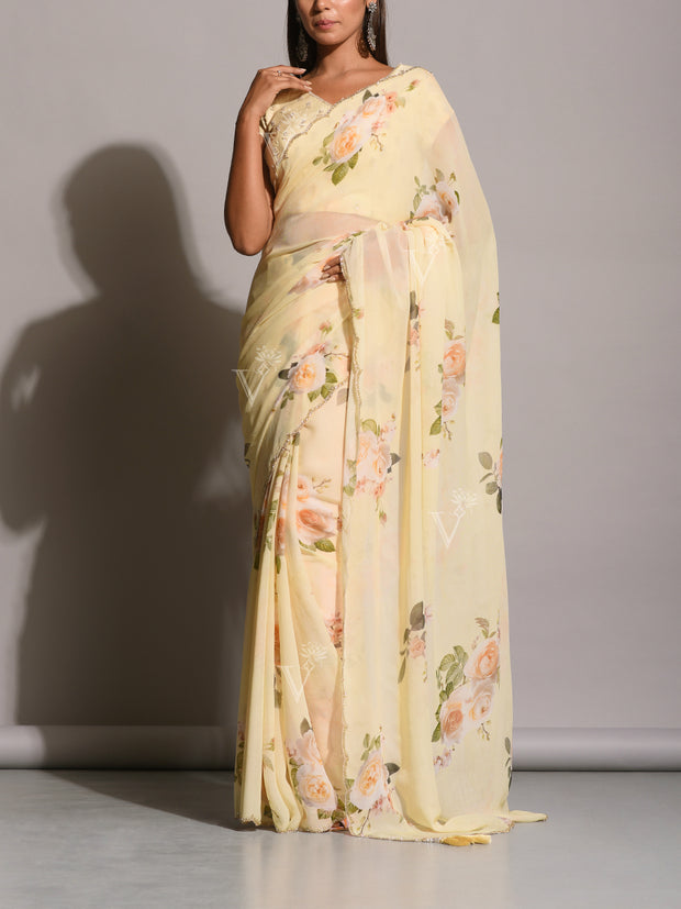 Creme Georgette Printed Scalloping Saree