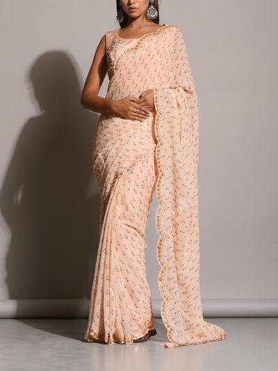Light Peach Printed Botti Scalloping Saree