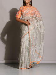 Silver Grey Mirrorwork Tissue Saree