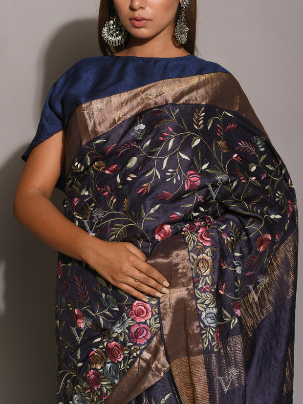 Navy Blue Resham Embroidered Saree
