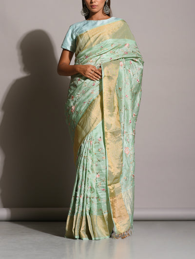 Sea Green Resham Embroidered Saree