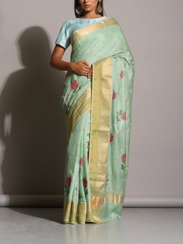 Sea Green Tussar Silk Embroidered Saree