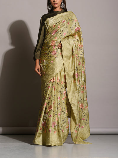 Mehendi Green Tussar Silk Embroidered Saree