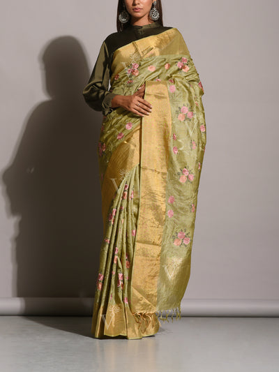 Light Green Tussar Silk Embroidered Saree