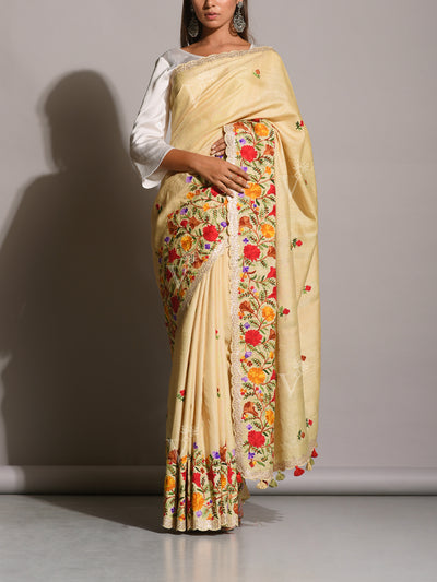 Creme Tussar Silk Embroidered Saree