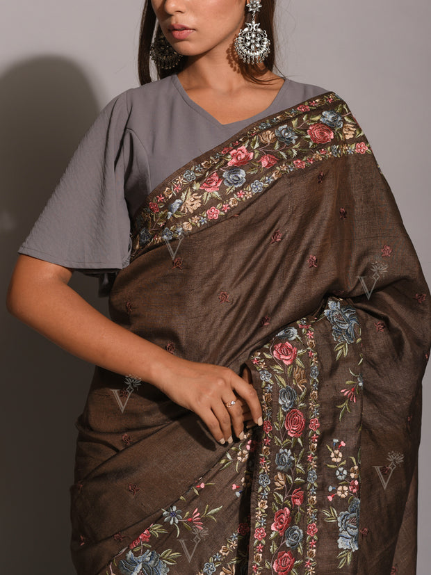 Brown Resham Embroidered Saree
