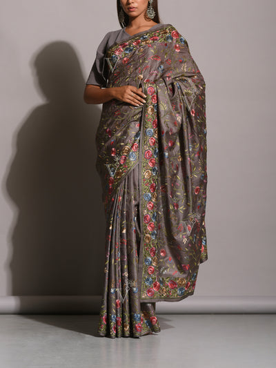 Grey Resham Embroidered Saree