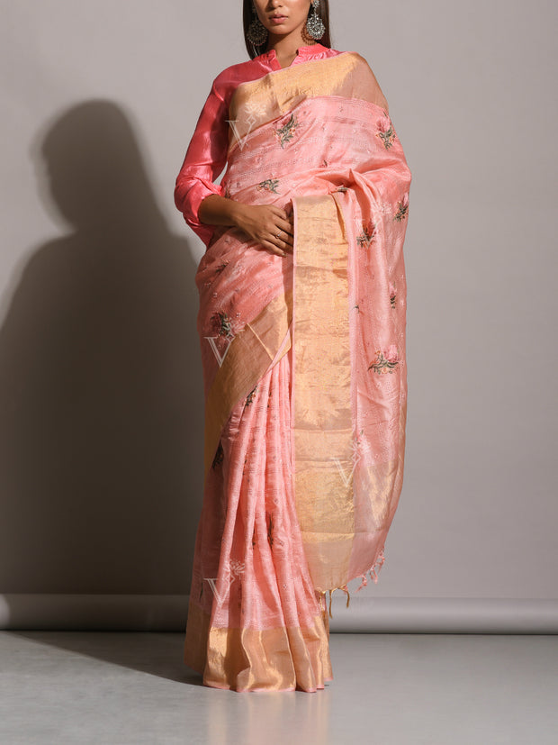 Light Peach Tussar Silk Embroidered Saree