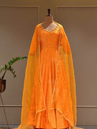 Gowns, Gown, Bandhani,Bandhej, Tie and dye ,Haldi wear, Casual wear