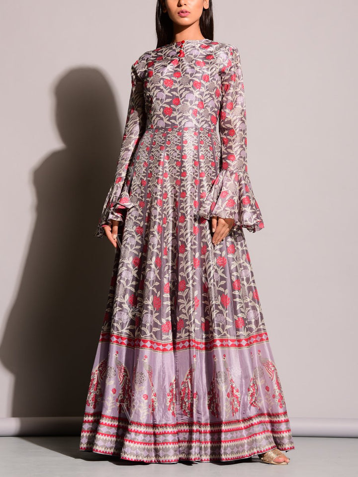 Grey & Red Anarkali Suit with Floral-leafy Print