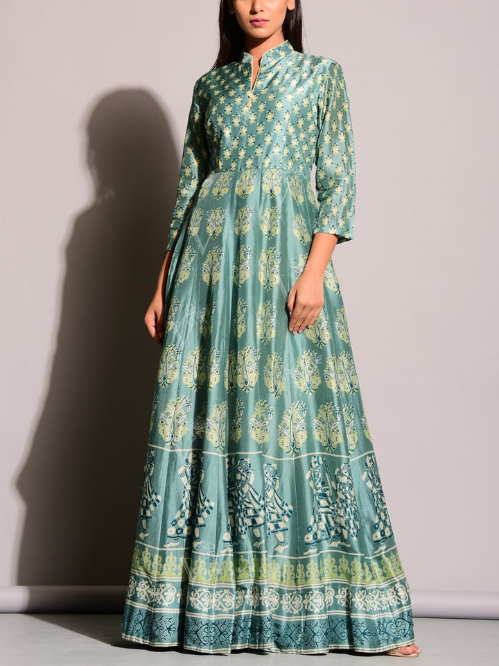 Light Green Anarkali Suit with Panihari & Organic Print