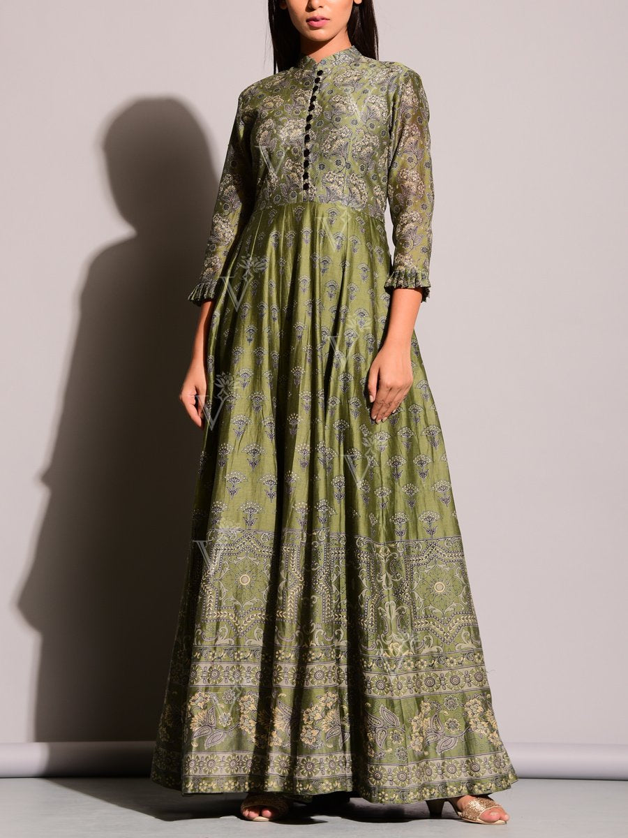 Green Printed Anarkali Suit with Floral Motifs