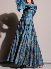 Blue Printed Anarkali Gown