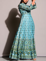 Sky Blue Printed Anarkali Gown