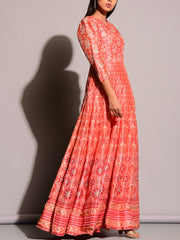Peach Printed Anarkali Gown