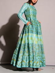 Green Printed Anarkali Gown