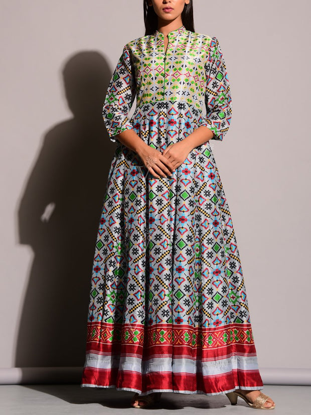Grey Printed Anarkali Gown