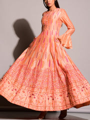 Peach Highlighted Anarkali Gown
