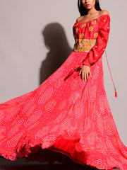 Red Bandhani Embroidered Anarkali Gown