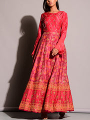 Red Printed Anarkali Gown