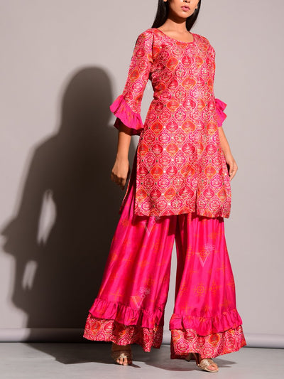 Pink Printed Sharara Set