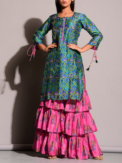 Green And Pink Printed Sharara Set