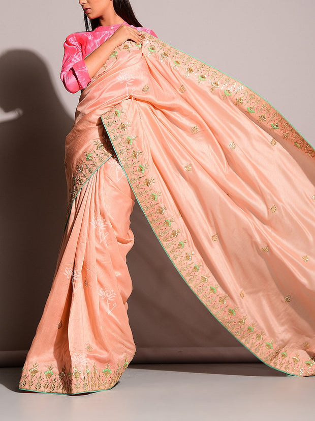 Peach Gotta Patti Saree