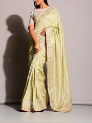 Pista Green Gotta Patti Saree