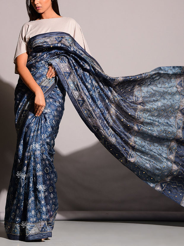 Grey And Blue Highlighted Saree